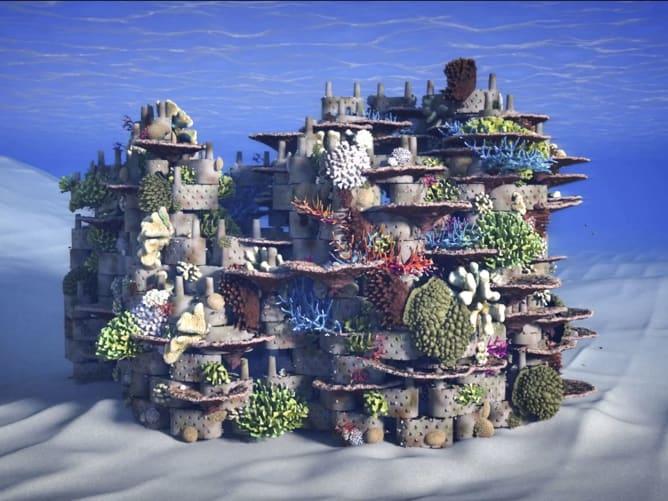 So sollen die 3D-gedruckten Korallenriffe des Start-ups rrreefs im Einsatz aussehen